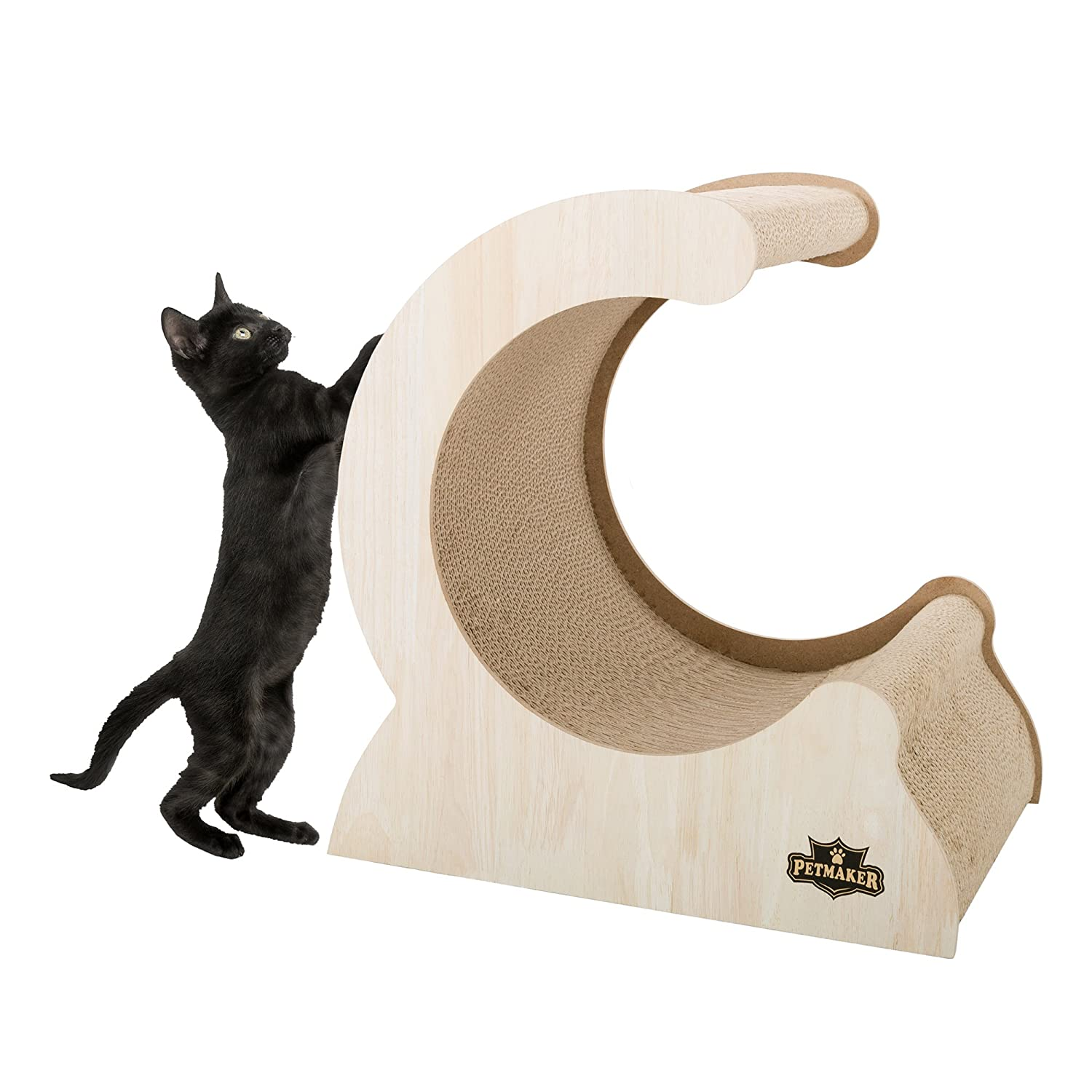 Cat Scratching Post- Wood and Cardboard Incline Vertical Scratcher Station for Kittens and Large Cats, Furniture Scratch Deterrent by PETMAKER