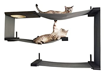 catastrophicreations fabric cat maze multiple level hammock lounger wall mounted cat tree amazon     catastrophicreations fabric cat maze multiple level      rh   amazon