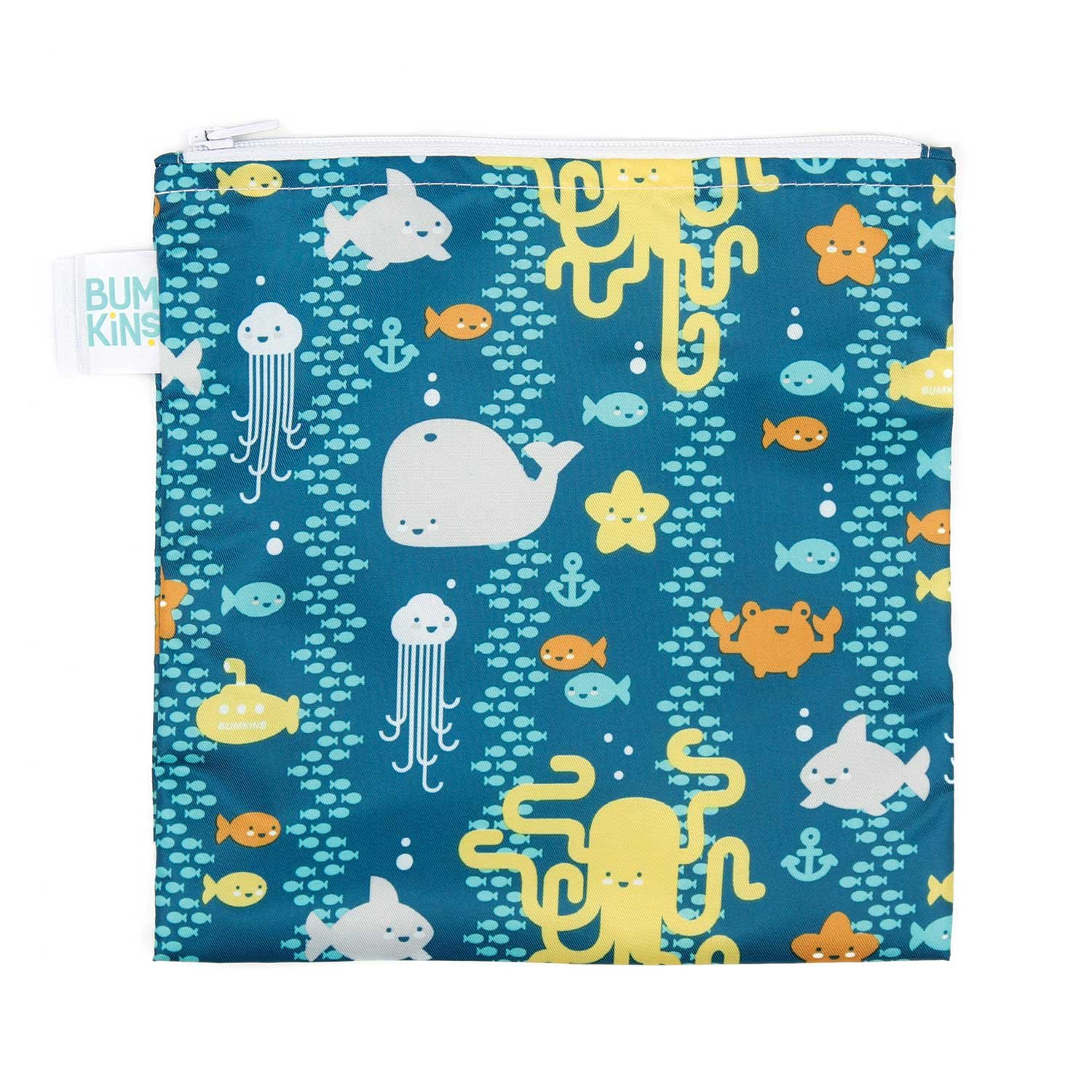Bumkins Reusable Snack Bag Large, Raindrops SBL-167