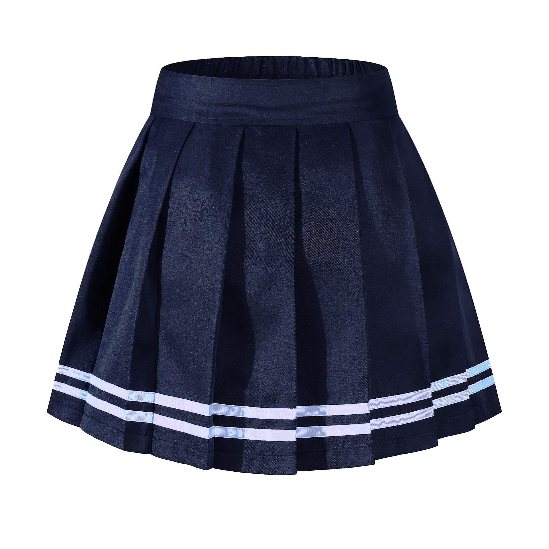 Beautifulfashionlife Girl's High Waist Pleated Mini Skirt Tennis A-line Elastic Shorts Navy White Stripes,S