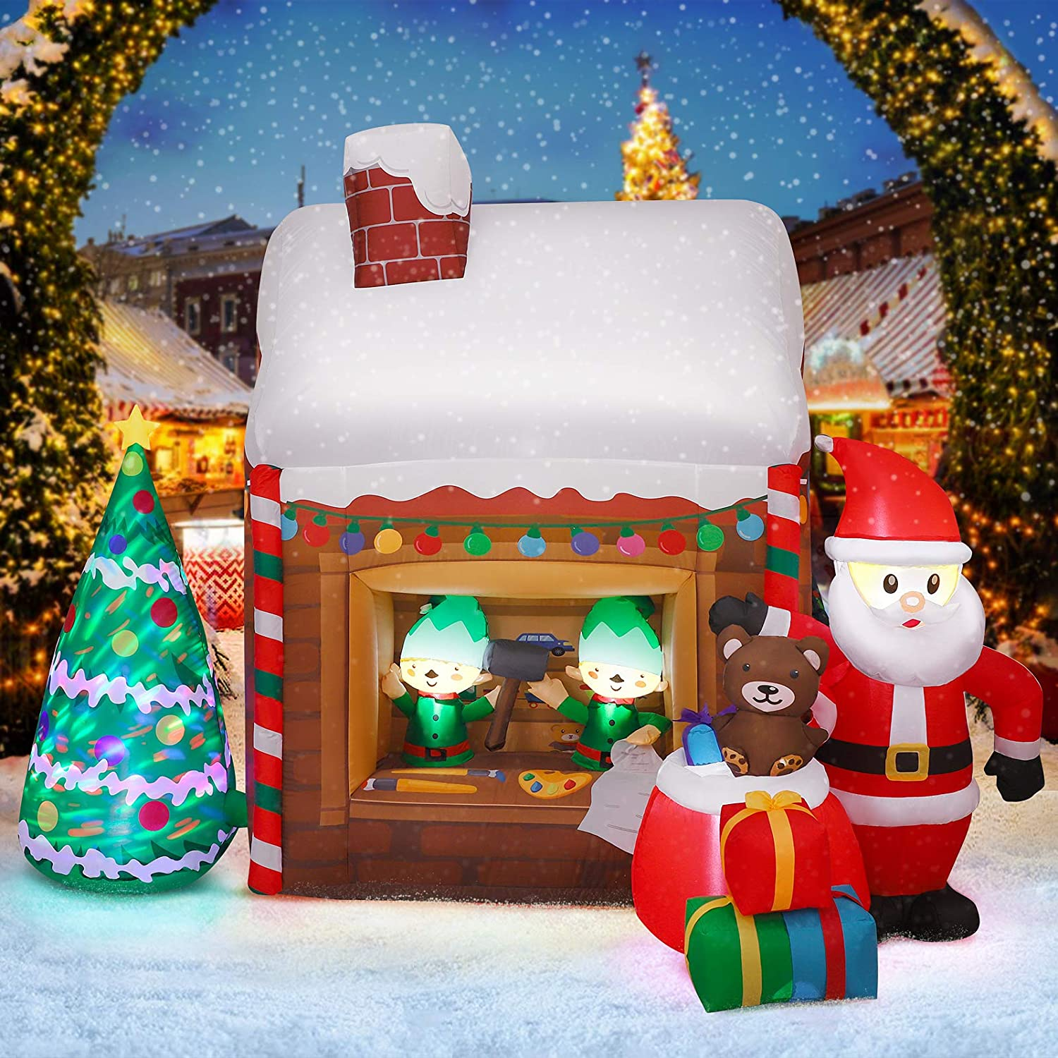 Christmas Yard Decoration, Inflatable LED Lighted Santa's Workshop Air Blown Up Decor for Yard Garden