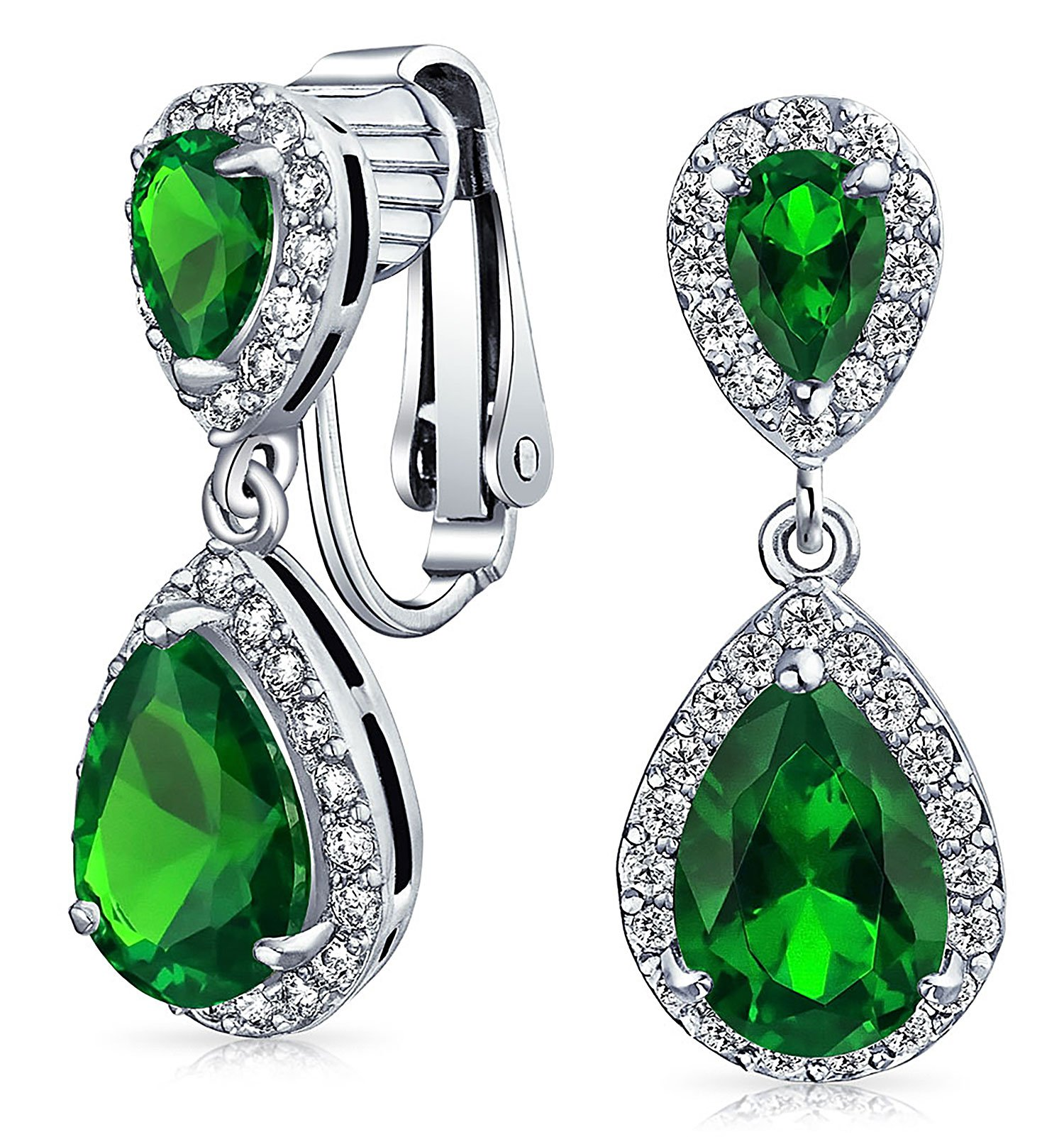 Green Teardrop CZ Halo Prom Drop Statement Clip On Earrings Simulated Emerald Cubic Zirconia Silver Plated Brass