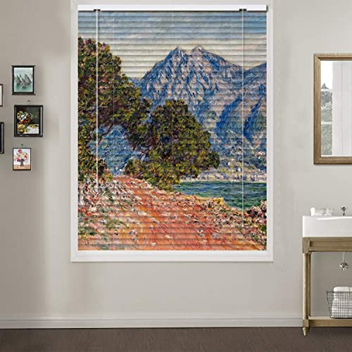Patterned Aluminium Mini Window Blinds, Mountain, by Claude Monet, 70W x 36L Inches, Premium 1-inch Blackout Light Filtering Horizontal Custom Blinds for Kitchen, Doors, Windows