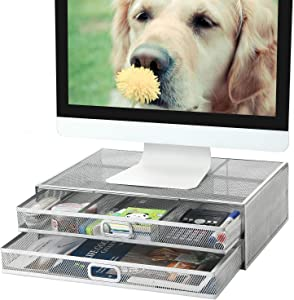 Monitor Stand Riser with Drawer - Metal Mesh Desk Organizer with Dual Pull Out Storage Drawer,Office Supply for Computer, PC, Laptop, Printer, Notebook, iMac (Silver)
