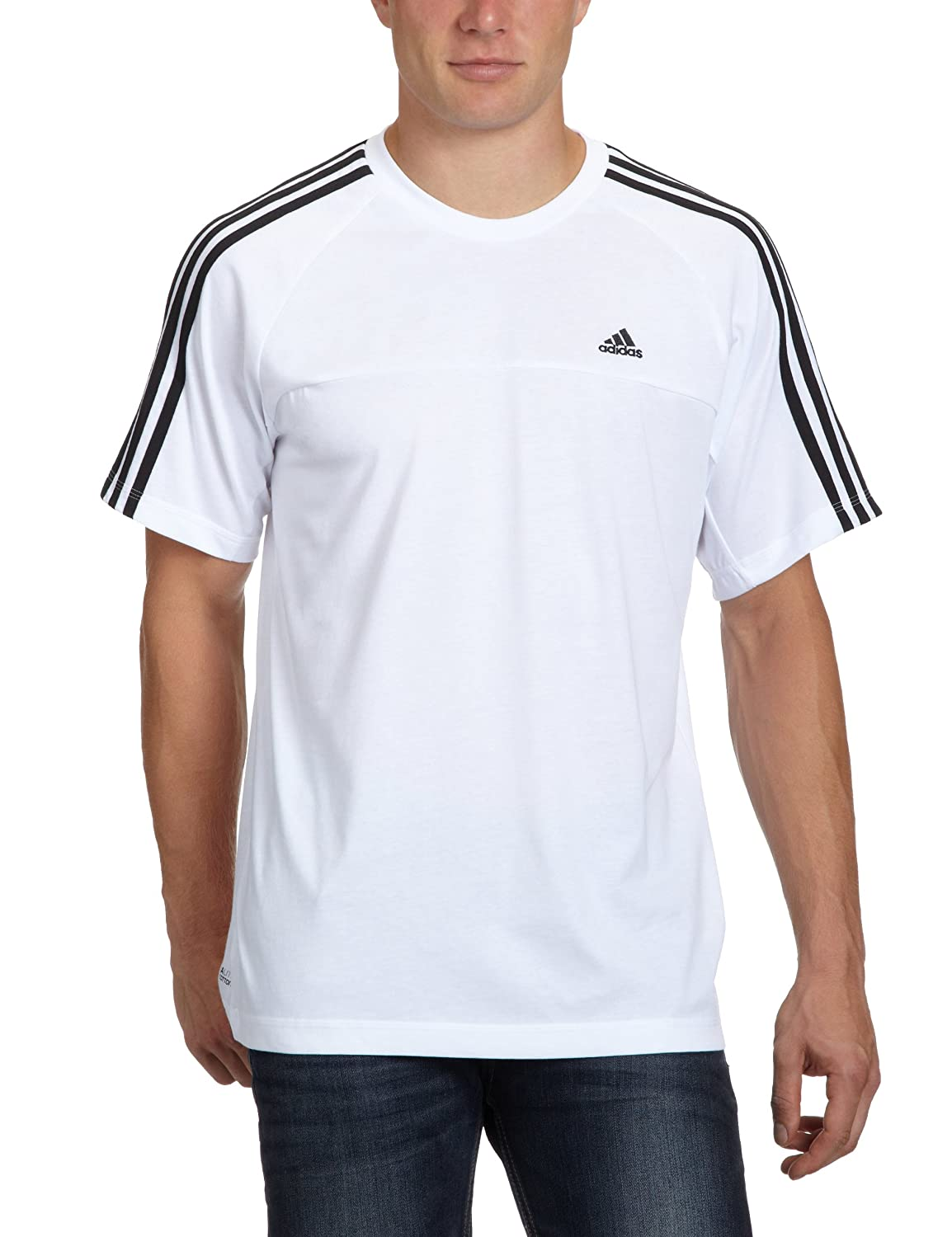 adidas Essentials 3-Stripes Men's Crew Neck T-Shirt: adidas: Amazon.co.uk:  Sports & Outdoors
