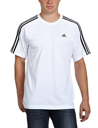 adidas Essentials 3-Stripes Men's Crew Neck T-Shirt White white/black Size