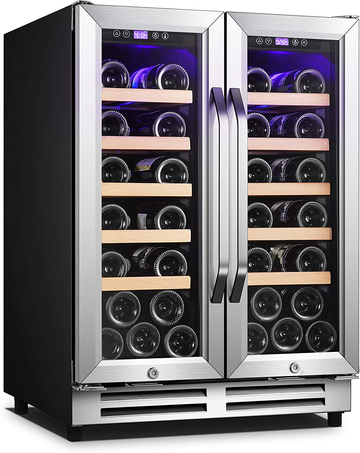 Karcassin 24 inch Wine Cooler Refrigerator – Compressor Wine Chiller – Dual Temp Zones wine fridge – Stores upto 36 Bottles