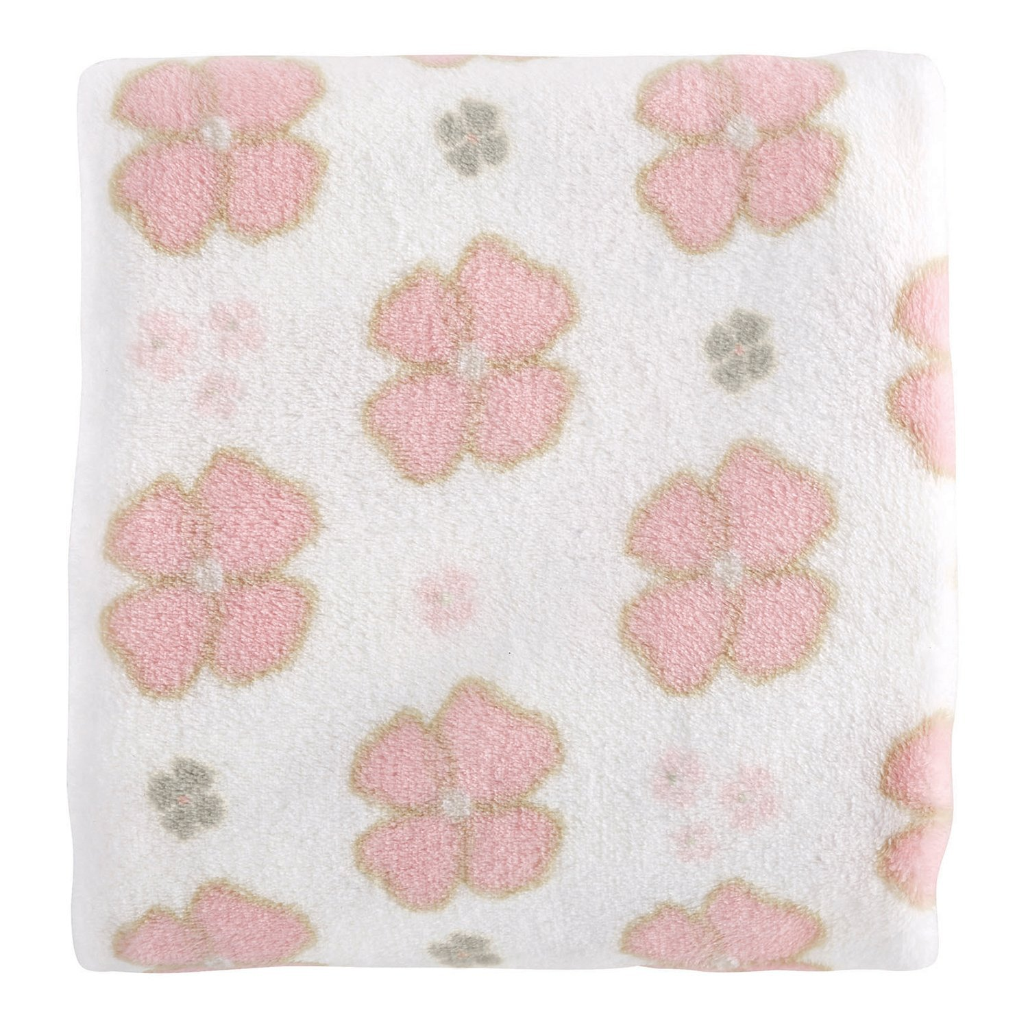 Stephan Baby Playful Posies Pink and Gray Floral Snuggle Fleece Crib Blanket