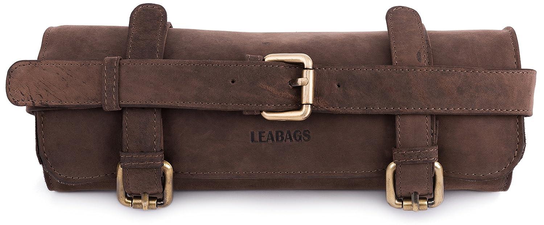 LEABAGS Namur porta pennelli vintage in vera pelle di bufalo - Noce moscata