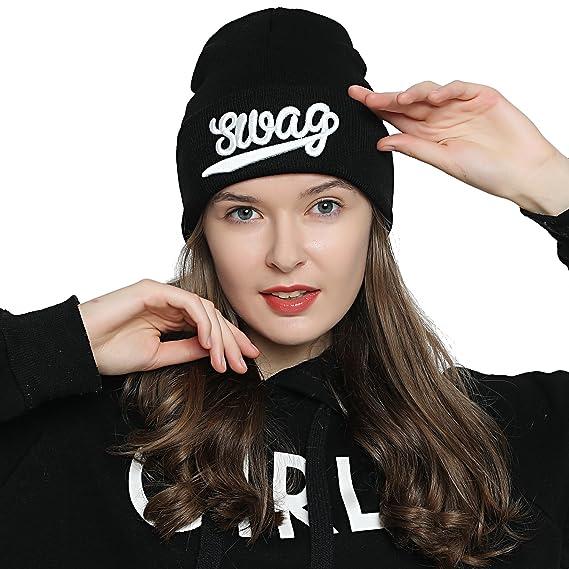 c065c09ce DonDon Mujer Gorro Beanie de invierno negra con Statement - Swag:  Amazon.es: Ropa y accesorios