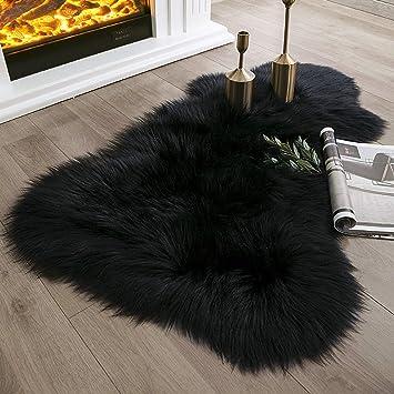 Amazon Com Ashler Soft Faux Sheepskin Fur Rug Fluffy Rugs Chair Couch Cover Black Area Rug For Bedroom Floor Sofa Living Room 2 X 3 Feet Furniture Decor