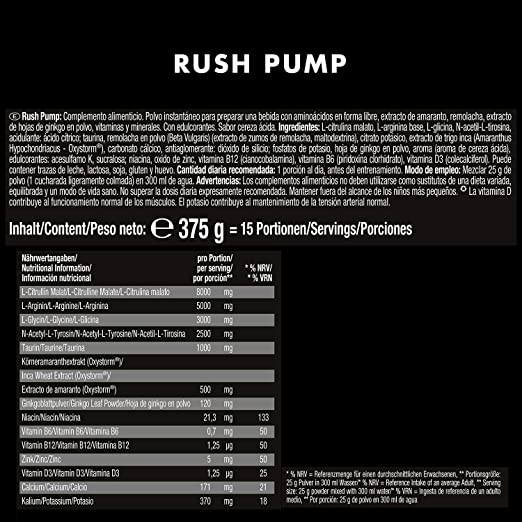 Weider Rush Pump Sour Cherry 375g. Pre-entreno sin cafeína ni creatina. Con L-Citrulina, L-Arginina, Oxystorm®, Ginko biloba y remolacha