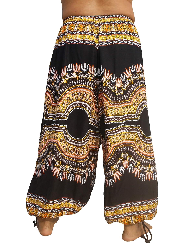 Full Funk Rayon Elastic Tied Ankle Wide Full Leg Balloon Pants Afrika Dashiki Art