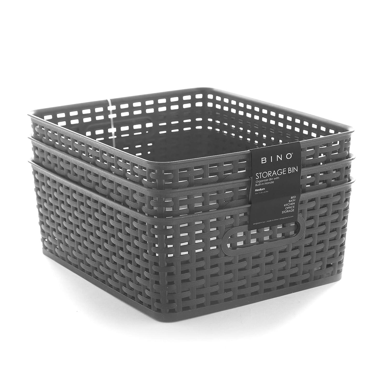 BINO Woven Plastic Storage Basket, Medium– 3 Pack (Black) Medium– 3 Pack (Black) 11038-BLK