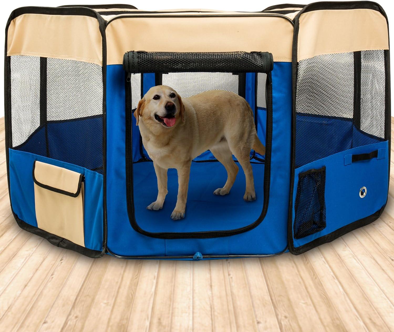 BIGWING Style-Parque Perro Gato Conejo Mascota de Juego Entrenamiento Dormitorio Plegable Lavable Durable Octágono 125x 125x 58 CM, Azúl