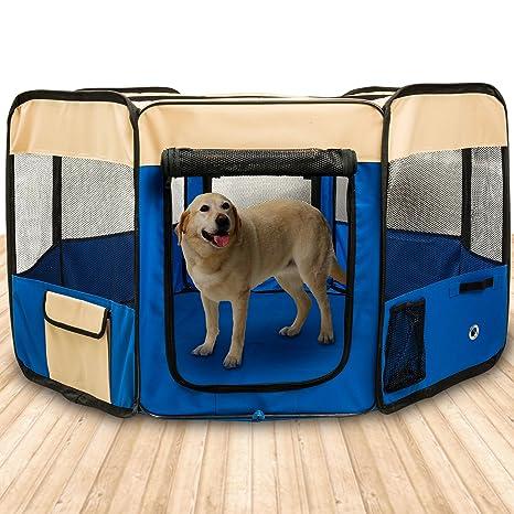BIGWING Style-Parque Perro Gato Conejo Mascota de Juego Entrenamiento Dormitorio Plegable Lavable Durable Octágono