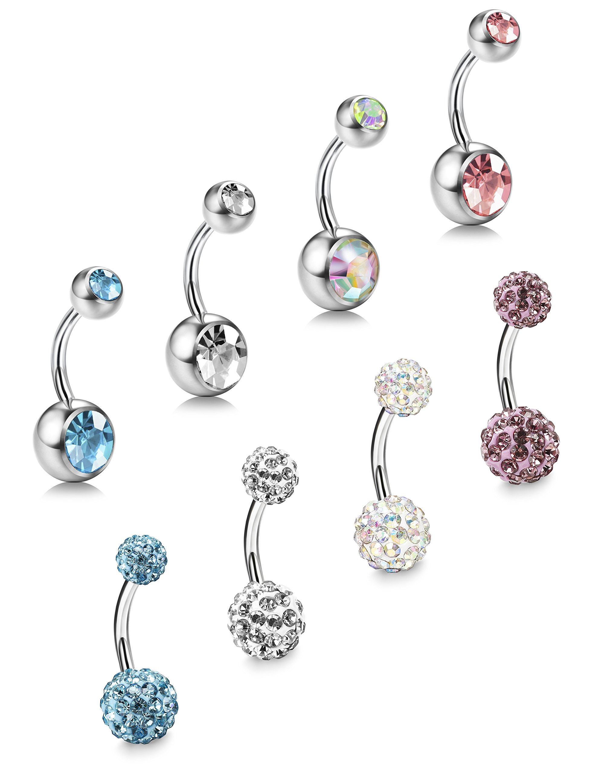 ORAZIO 8Pcs 14G Stainless Steel Belly Button Rings Screw Navel Bars Body Piercing