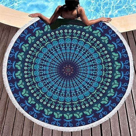 782a6666ce774 Stillshine Serviette Plage Ronde Mandala Épaisse Tapisserie Microfibre Avec  Frange Ultra-épais Mat Yoga Hippie Tapis Beach Ete Cadeau,Idéal pour  Voyage, ...