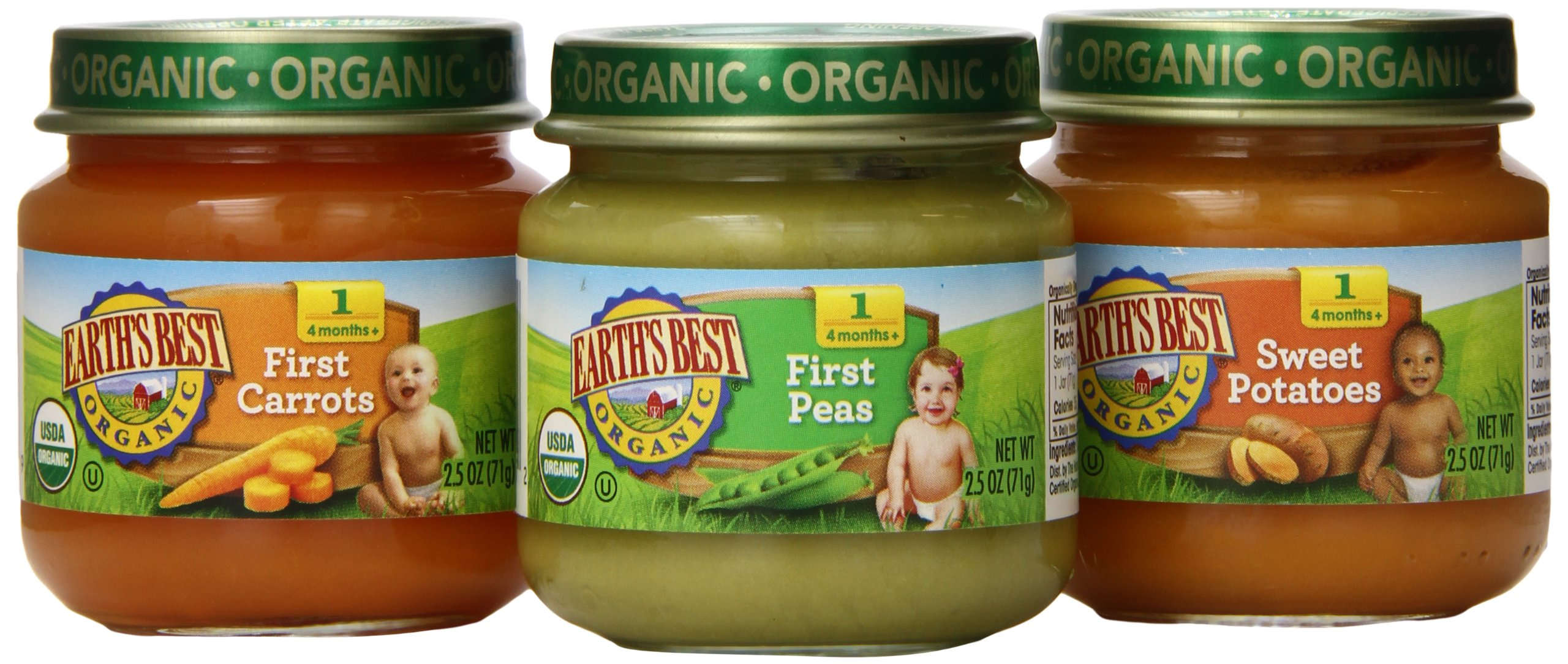 Earth's Best Organic Stage 1 Baby Food, My First Veggies Variety Pack (Carrots, Peas, and Sweet Potatoes), 2.5 Ounce Jars, Pack of 12