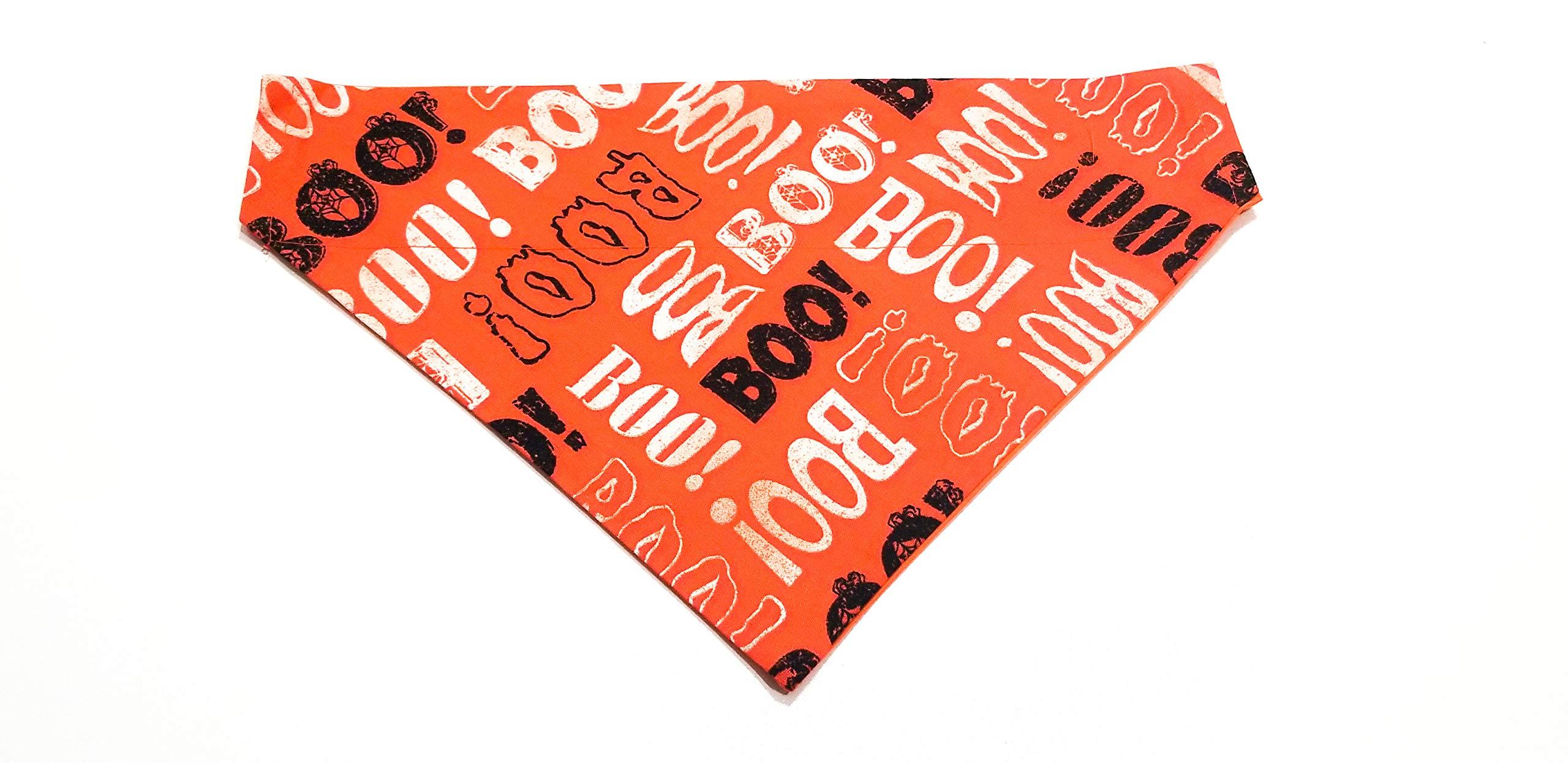 BOO! Pumpkin - Orange Halloween Print Dog Bandana Kerchief No-Tie Design