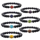 Amazon Price History for:J. Fée BLACK FRIDAY SALE- 7 Pack Chakra Men&Women Yoga Stretch Bracelet 7 Pack Lava Bracelets Series