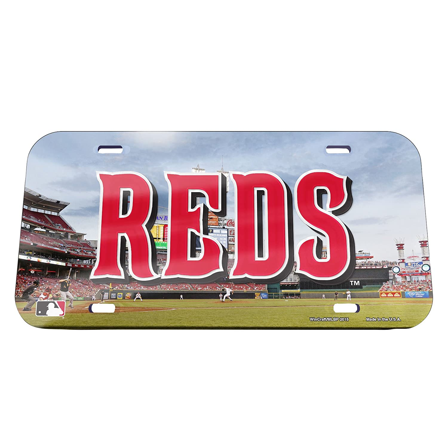 6 x 12 Wincraft 05355115 MLB Cincinnati Reds Stadium Crystal Mirror License Plate