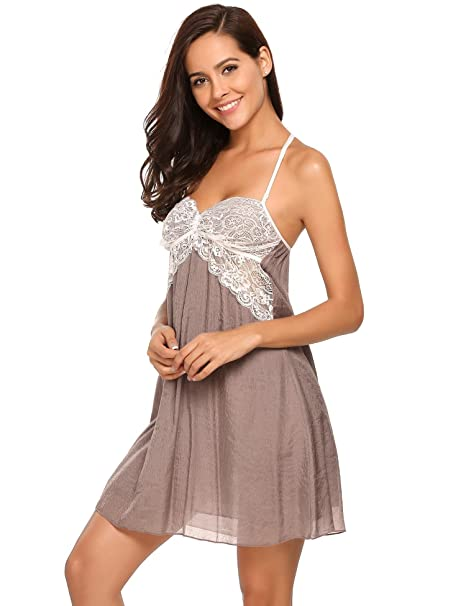 5660e65371c Goldenfox Women Lace Babydoll Lingerie Sexy Mesh Chemise Sleepwear Outfits  Apricot Small at Amazon Women s Clothing store
