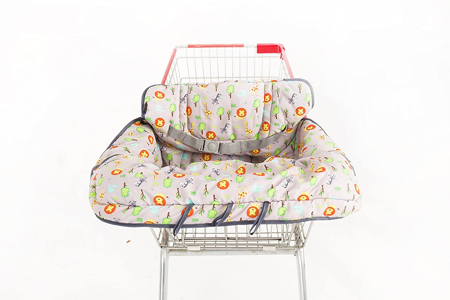 2-in-1 Shopping Cart Cover for Baby/Toddler with Free Baby Infant Training Toothbrush - High Chair Cover - Germ Protection Material - Unisex Design - Machine Washable - Compact Carry Bag Folding MyTickles