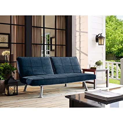 Living Room Blue Finished Sofa, 4 Seating Functions, Lounger, Futon, Metal  Frame