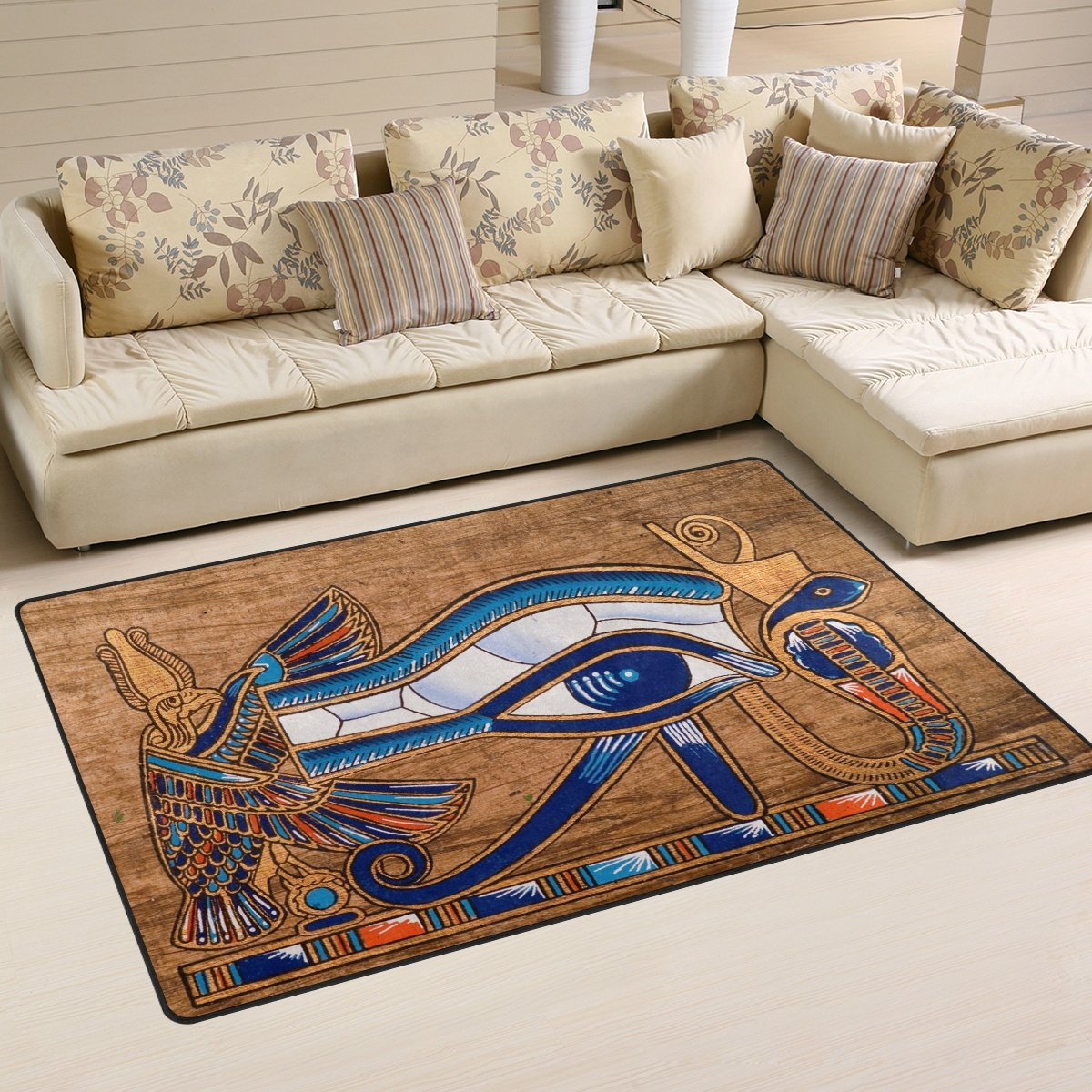Naanle Egypt Area Rug 3 x5 , Egyptian Horus Eye Polyester Area Rug Mat for Living Dining Dorm Room Bedroom Home Decorative