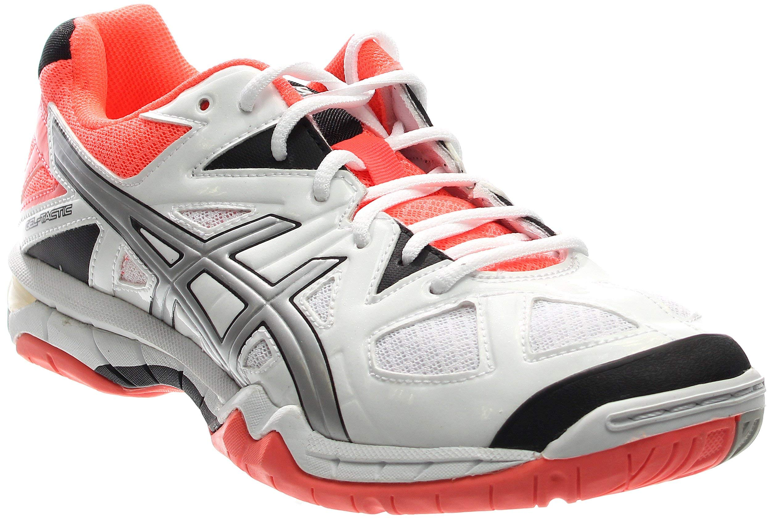 buy popular c2c52 92ae2 ASICS Women s Gel Tactic Volleyball Shoe, White Silver Flash Coral ...