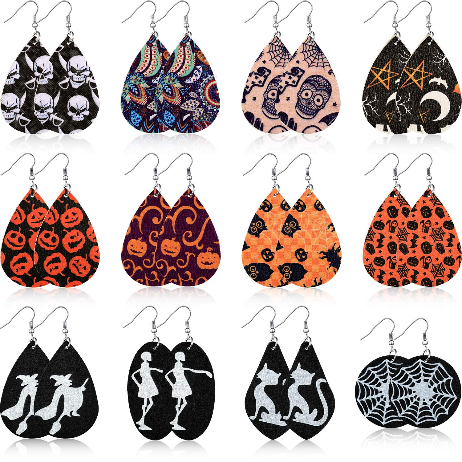 12 Pairs Halloween Earrings Teardrop Earrings Faux Leather Dangle Earrings for Halloween Costume Party Decoration Supplies by Hicarer