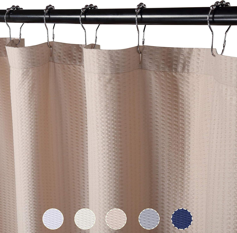 con fori per bottoni colore: bianco LinTimes colore bianco Tende da doccia con motivo a cialde 182,9 x 183,9 cm