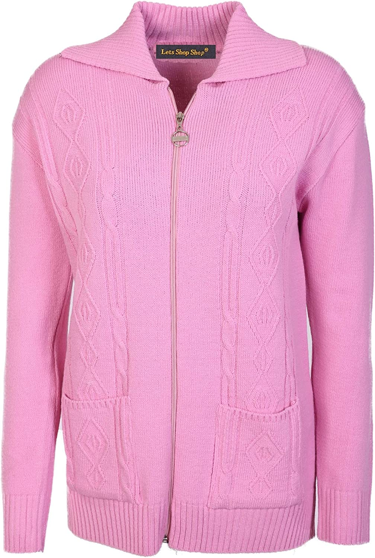 Lets Shop Shop Womens Zipped Cable Knit Long Sleeve Zip Through Fasten Jumper Top Ladies Classic Knitwear Zipper Cardigan Size 10 12 14 16 18 20