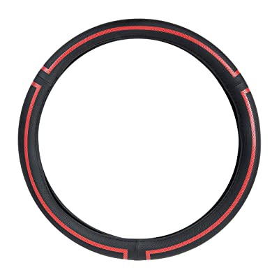 Basics Leatherette Steering Wheel Cover, 15″, Black and Red: Automotive