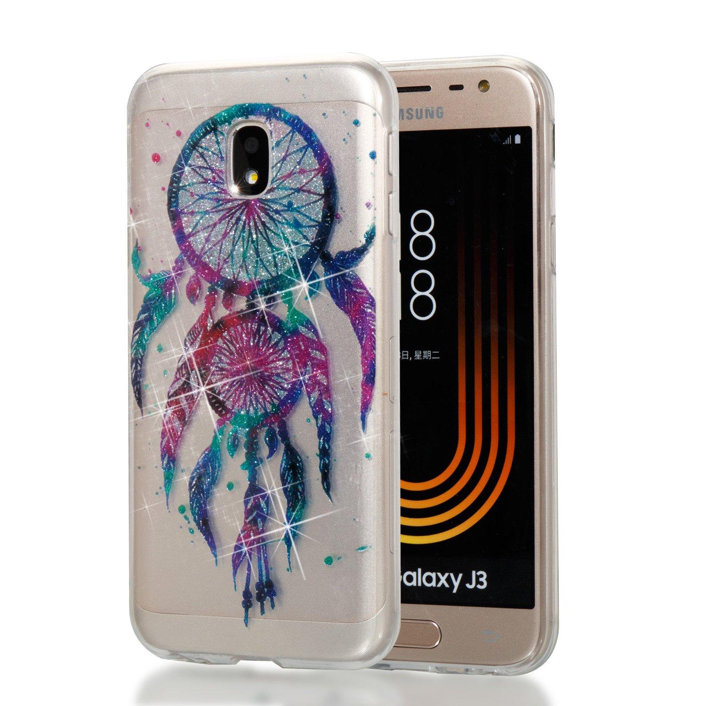 Qiaogle Té lé phone Coque - Soft TPU Silicone Housse Coque Etui Case Cover pour Samsung Galaxy J3 (2017) / J330 (5.0 Pouce) - YB69 / Dreamcatcher