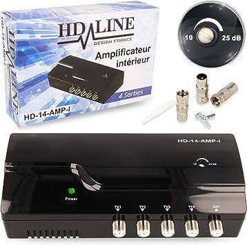 HD-Line - Amplificador terrestre TDT (4 vías, UHF, VHF, 25 dB, Amplificador y repartir la señal TDT HD-Line 14 AMPI