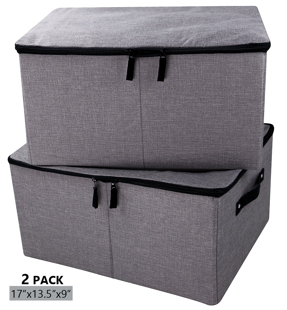 iwill CREATE PRO Folding Storage Box with Zipper Lid and Handles, Storage Basket with Linen Fabric, Closet Drawer Removable Dividers,Dark Gray, 2 pcs