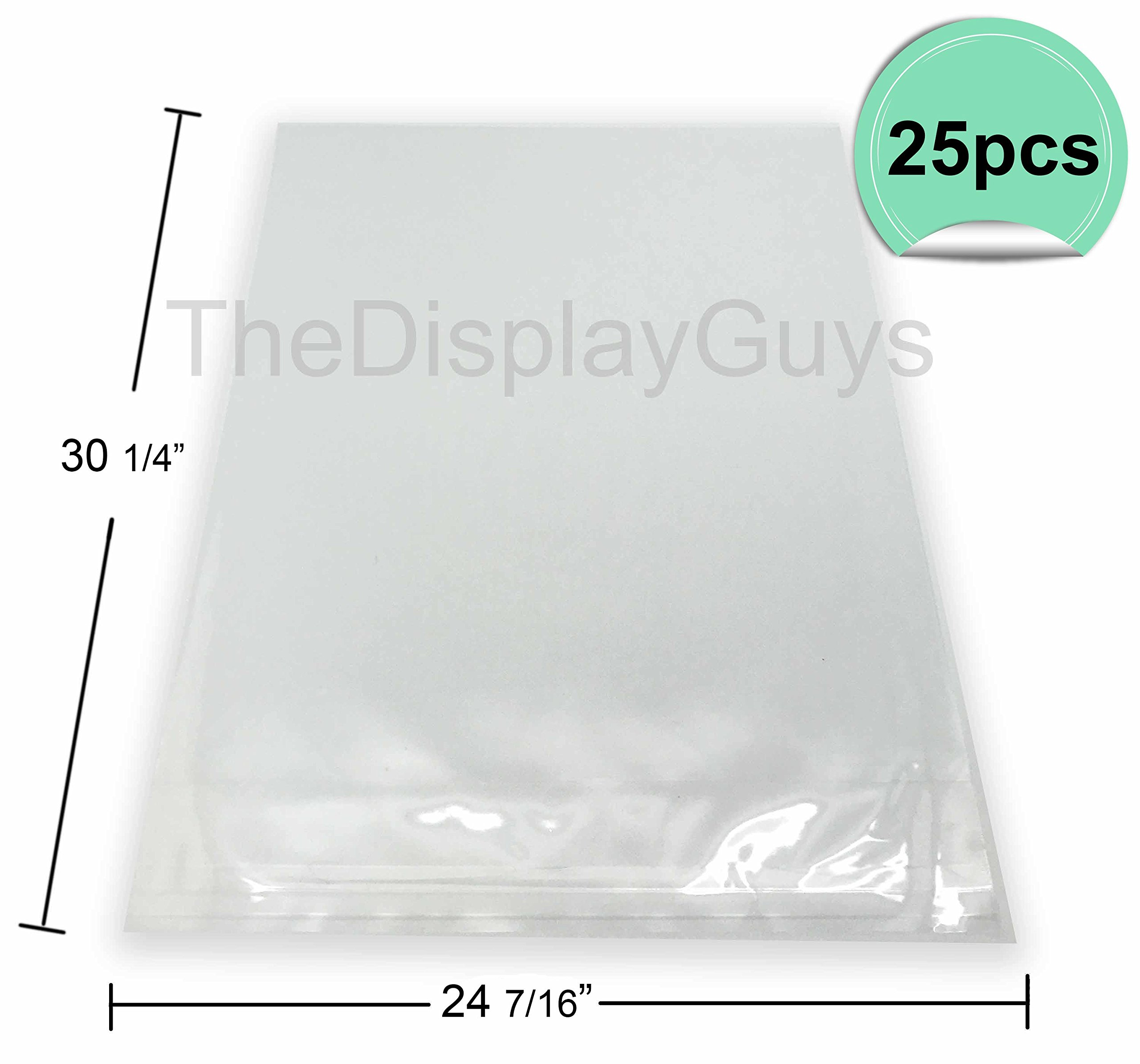 The Display Guys, 25 Pcs 24 7/16'' x 30 1/4'' Clear Self Adhesive Plastic Bags for 24x30 inches Picture, Poster, Photo Framing Mats