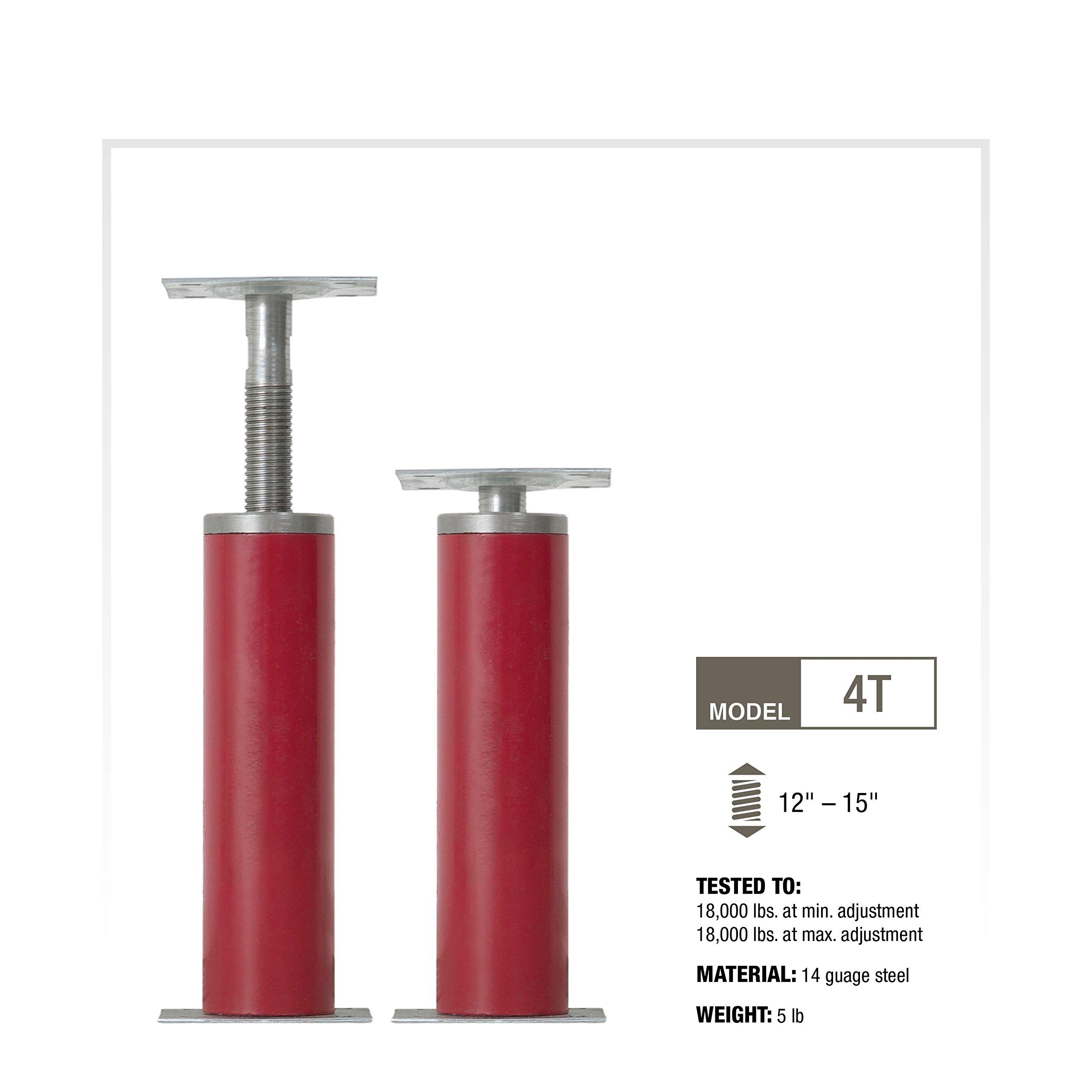CoreLine Mfg Adjustable Jack Post — 12in.–15in. Adjustable Length, Model# 4T