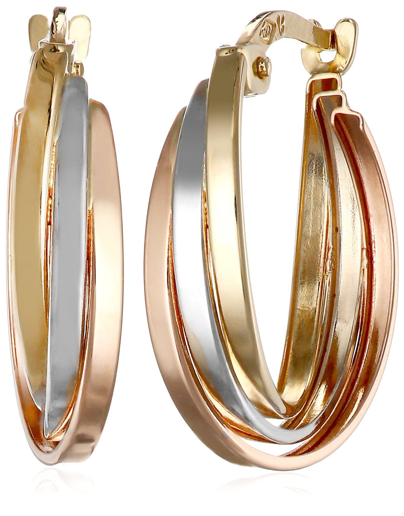 14k Gold Tri-Color Triple Hoop Earrings