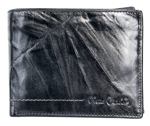 Cartera de cuero genuino de color negro oscuro Pierre Cardin: Amazon.es: Zapatos y complementos