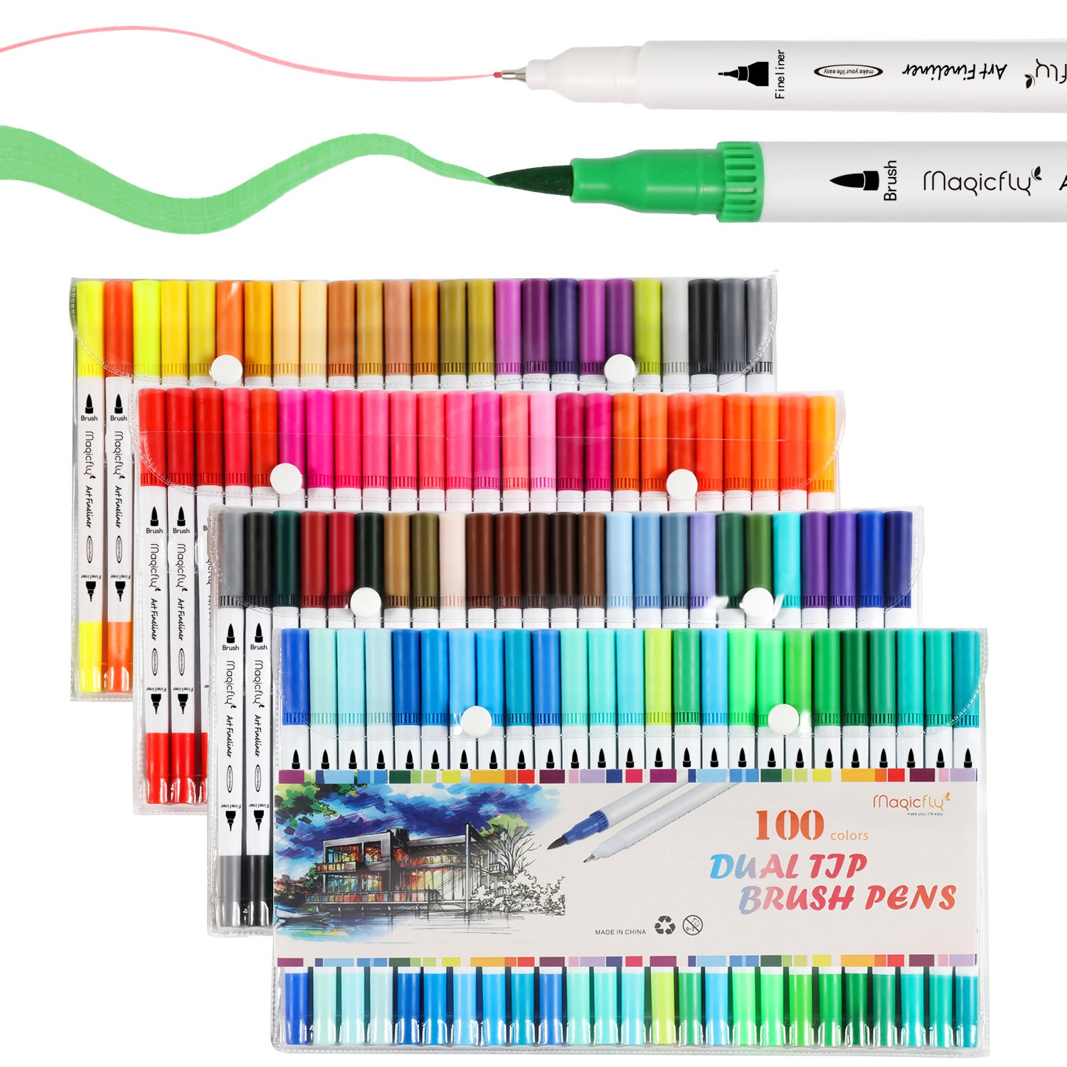 100 Dual Tip Brush Pens, Magicfly Water Coloring Markers with Fineliner Tip 0.4 and Highlighters Brush Tip(1mm-2mm) for Art Marker Brush Tips, Calligraphy, Manga, Bullet Journal by Magicfly
