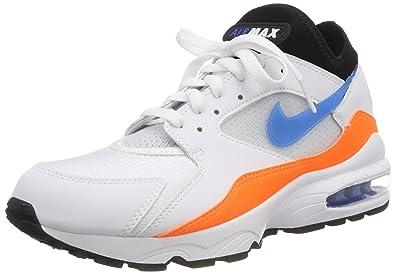 Nike Mens Air Max 93 OG Running Shoes White Blue Nebula Total Orange  4684a7f6e0