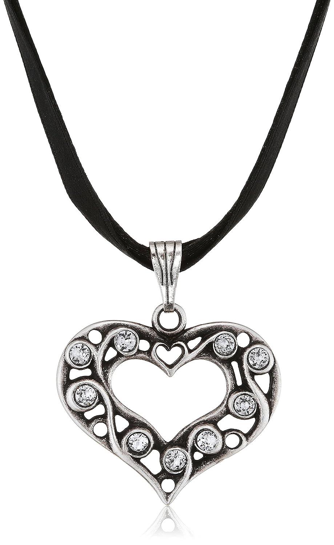 Lusana Damen Trachtenhalstuch Collier mit Satinband und Rankenherz Beige (Sahara 53) SL604