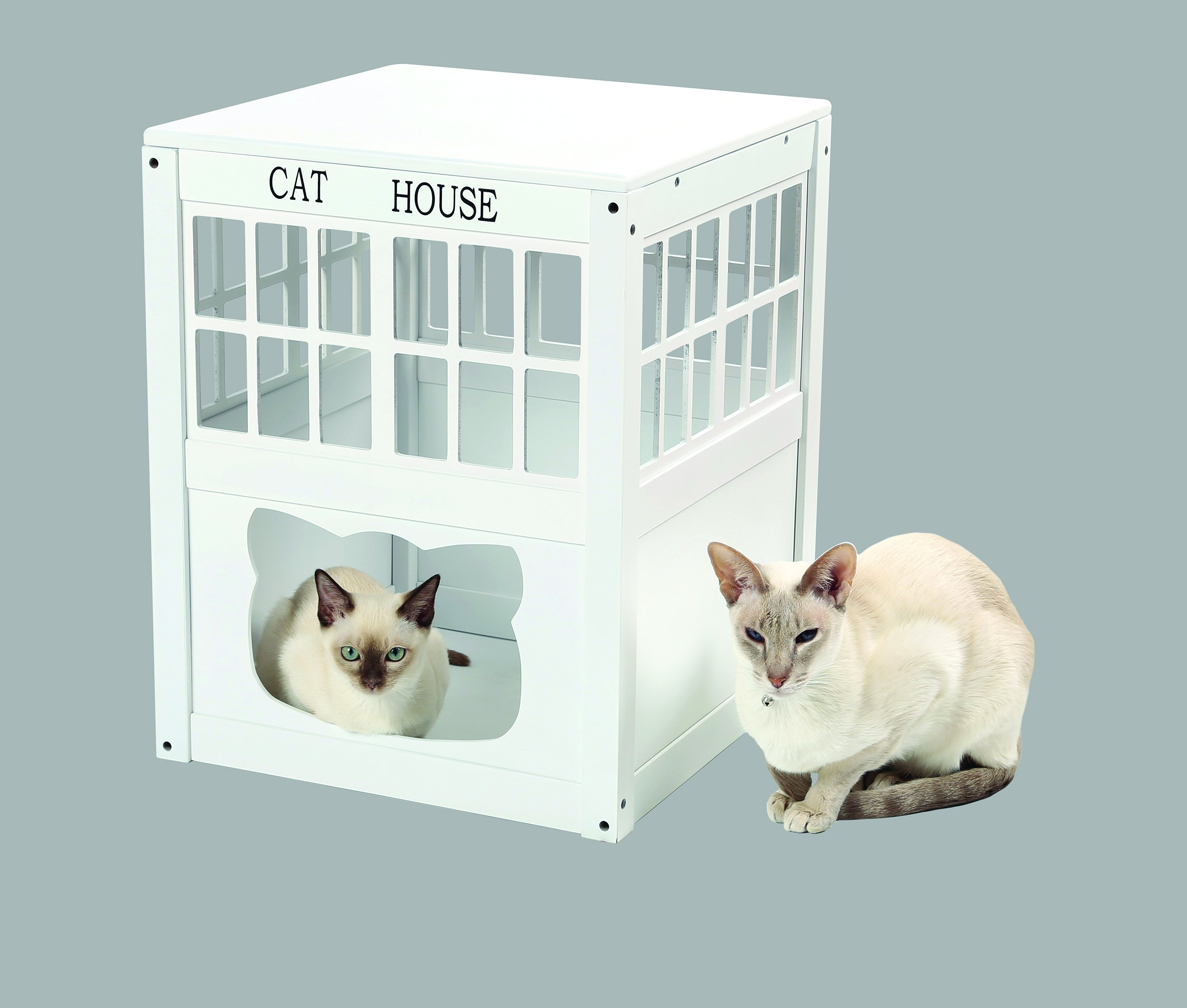 Indoor/Outdoor Wood Kitty Litter Hideaway End Table Cat House