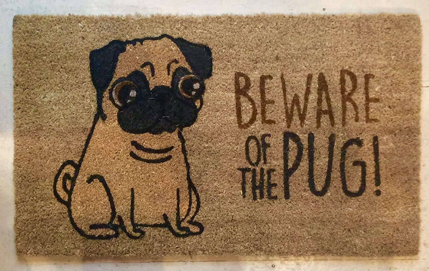 Beware of the Pug doormat: Amazon.co.uk: Kitchen & Home