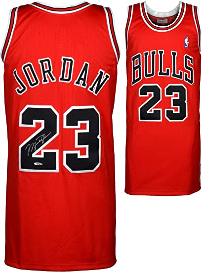 Michael Jordan Chicago Bulls Autographed 1997-98 Mitchell   Ness Red ... 402f6463b