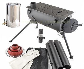 NJ estufa de leña para acampada portátil + calentador de agua de 2 litros y kit intermitente: Amazon.es: Deportes y aire libre