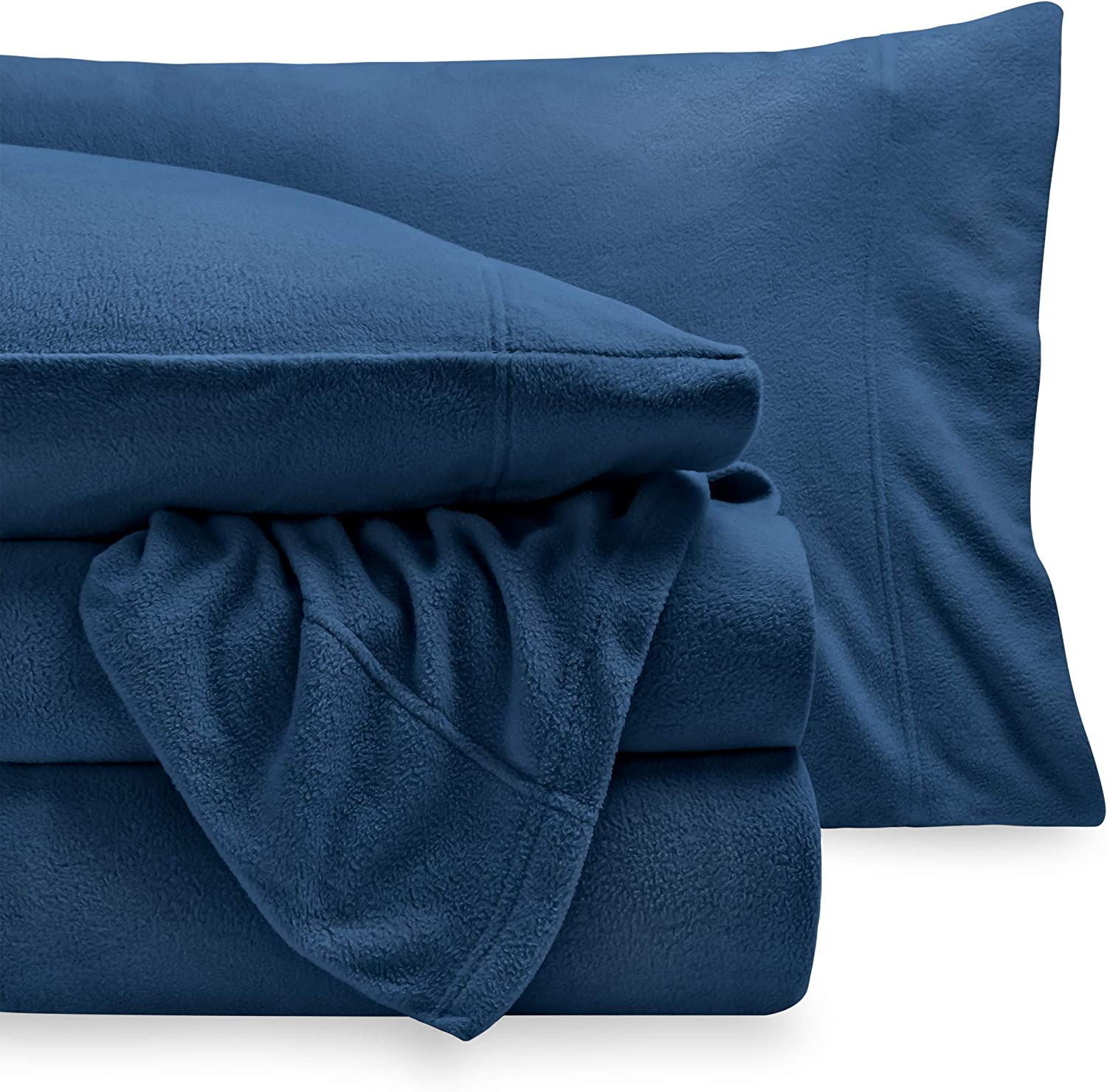 Bare Home Super Soft Fleece Sheet Set - King Size - Extra Plush Polar Fleece, Pill-Resistant Bed Sheets - All Season Cozy Warmth, Breathable & Hypoallergenic (King, Dark Blue)